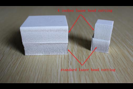 4″激光头和标准激光头切割效果对比